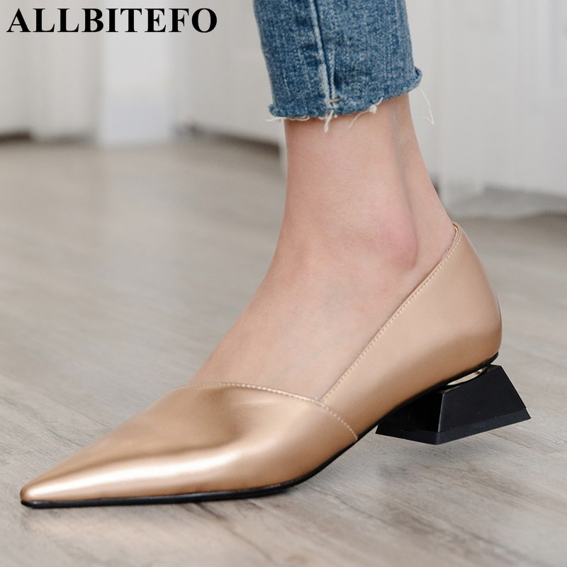 ALLBITEFO fashion pointed toe thick heel women shoes brand high heels party women shoes spring office ladies shoes size:33-43 high heels