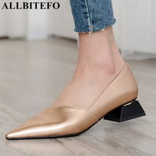 ALLBITEFO fashion pointed toe thick heel women shoes brand high heels