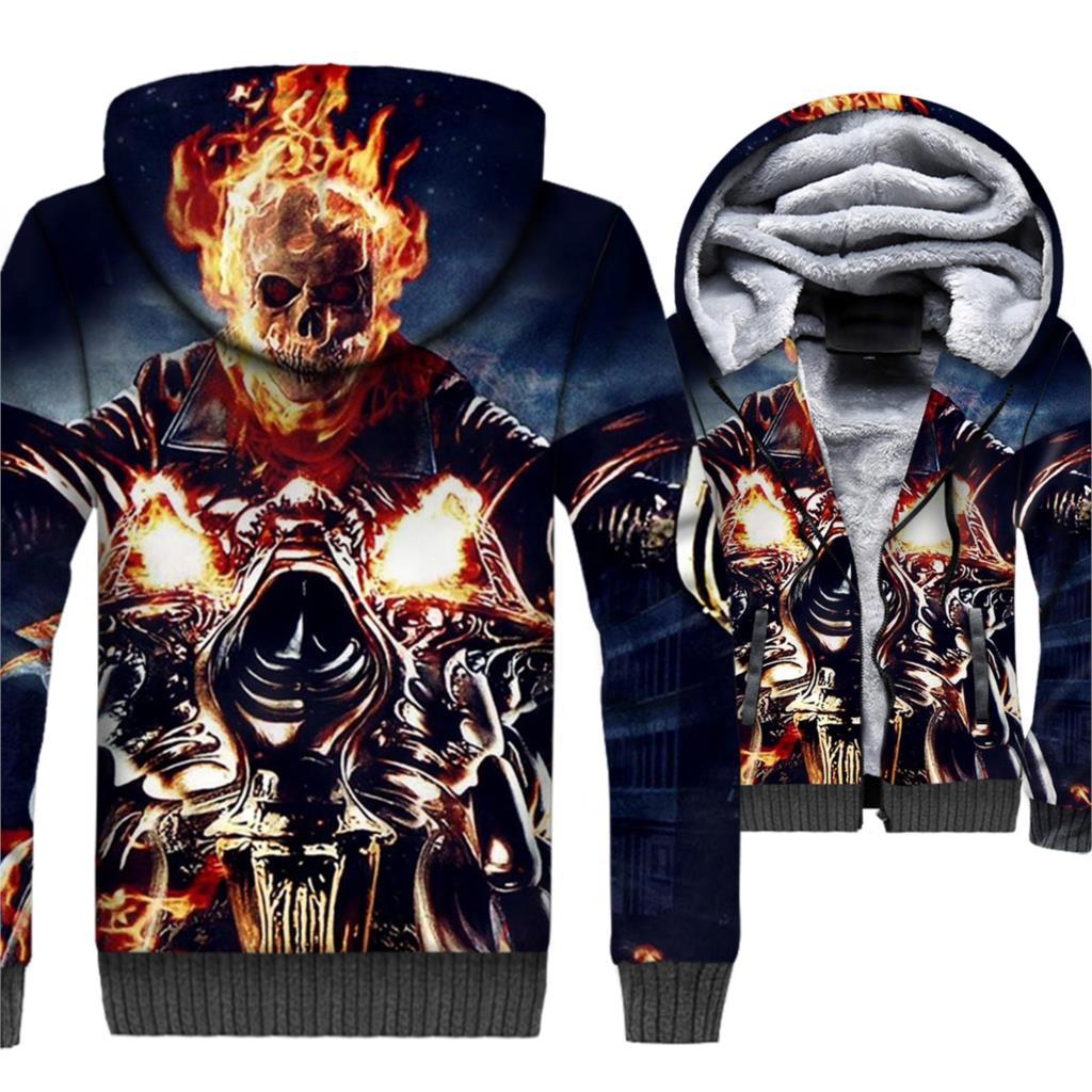 Ghost Rider Skull Jacket 3D Hoodies Punk Sweatshirt 2018 New Winter Thick Fleece Warm Zipper Coat Swag Hip-Hop Sweatshirt 5XL