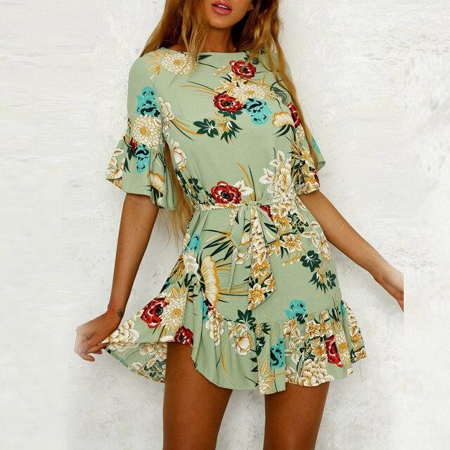 c3bb4bde3d Women Dress O neck Waist Spaghetti Strap Floral Print Beach Style Skater A  Line Mini Dress