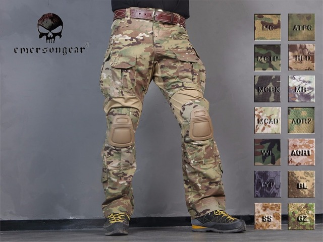 c2eb8a244f3 Men Military Hunting BDU Pants EMERSON Combat G3 Tactical Pants with Knee  Pad Multicam Black AOR Woodland
