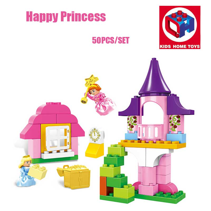 Kids Home Toys 50PCS Pink Dream Happy Princess Castle Model Princess Figures Building Blocks Girls Toy Compatible With Duplo oenux happy princess angel castle model large particles building block kids diy brick toy for girl s gift compatible with duplo