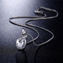 FYM High Quality 6 Colors Crystal Cubic Zirconia Necklaces & Pendants Wedding Necklaces Chain Statement Necklace For Women Party fym high quality big white crystal silver color cubic zirconia necklace
