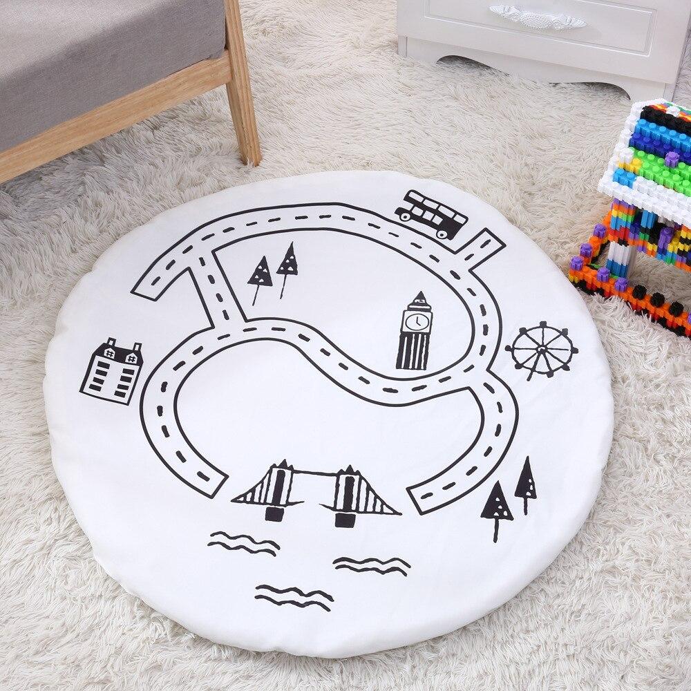 90 Cm Kids Play Game Matten Ronde Tapijt Tapijten Mat Katoen Lane Kruipen Deken Vloer Tapijt Voor Kinderkamer Decoratie Ins Baby Geschenken