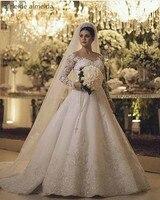 Vestido de Noiva Illusion Neck Lace Appliques Pearls Long Sleeves Wedding Dress 2017 Chapel Train Robe de Mariee