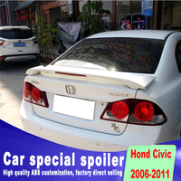 fashion clamp style Punching installation spoiler 2006 to 2011 For honda civic rear trunk primer high quality sopoilers