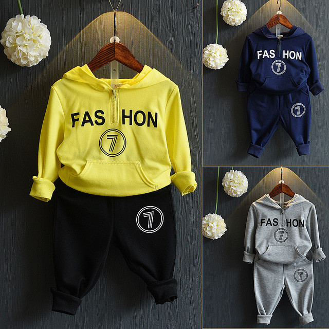 Boys Clothing Set Winter Hooded Sweatshirts Costume Kids Sport Suit Spring Letters Casual Toddler Girls Clothing 2-8 Years
