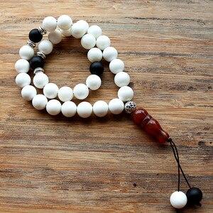 Image 5 - New Handmade 10mm Natural stone beads 33 Prayer Beads Islamic Muslim Tasbih Allah Mohammed Rosary for women men Bead Jewelry