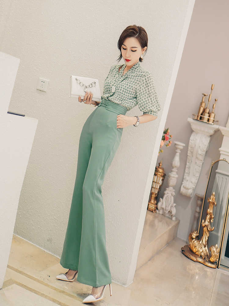 Fashion elegante Vrouwelijke hoge taille flare broek casual broek zomer vrouwen broek nieuwe wilde Werk pak Losse wijde pijpen broek