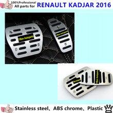High Quality Car Aluminium alloy foot Gas/petrol/oil inner Brake Rest lamp frame trim Pedal AT 2pcs for Renault Kadjar 2016 2017