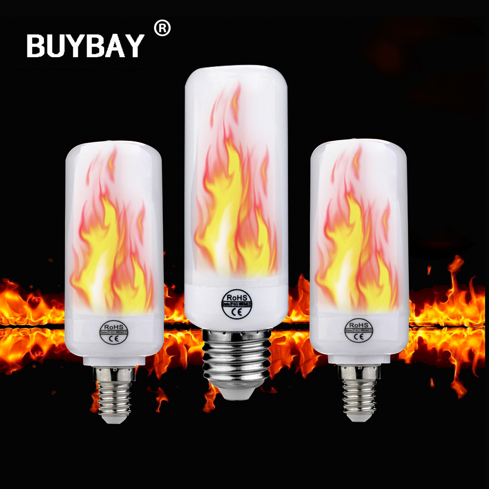 E27 E14 LED Flame Effect Fire Light Bulbs 2835 Creative Lights Flickering Emulation Holiday Decoration flame Lamp 2 mode+Gravity