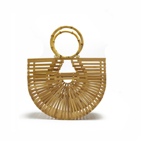 2019 INS Hot Half Round Bag Hollowed Out Bamboo Basket Bag Hand Bag Clutch for Women