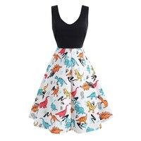 Plus Size Vintage Dress 2019 Casual Summer Dinosaur Print Women Robe 50S 60S Rockabilly Swing Pin Up Vestido Elegant Party Dress