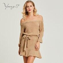 Young17 свитер вязаное платье с вырезом лодочкой простой мини-сексуальная клуб спинки на шнуровке элегантные женские Красота Женщины осенний свитер платье