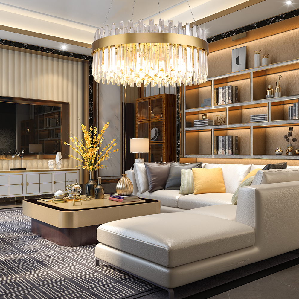 Gold Modern Chandelier Lighting Luxury Living Dining Room LED Lustres De Cristal  1