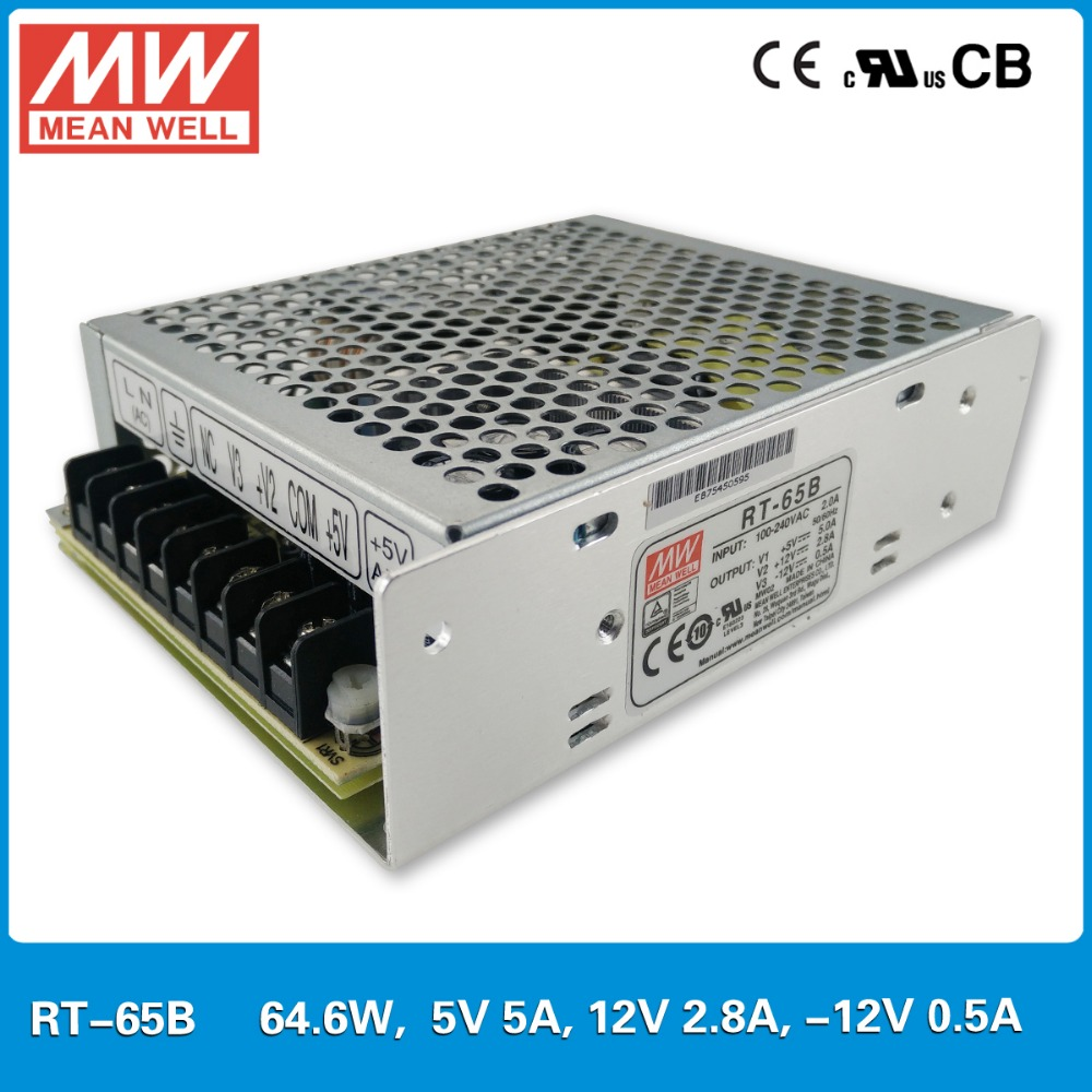 Original Mean Well RT-65B 65W Triple output +5V/5A +12V/2.8A -12V/0.5A Meanwell three output Power Supply mean well original rt 50d meanwell rt 50 51w triple output switching power supply