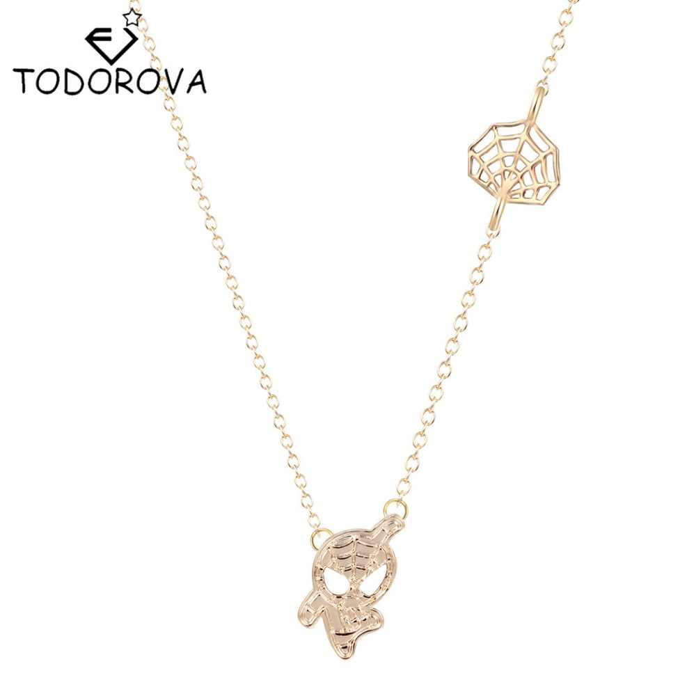 Todorova Spider Man and Web Shaped Charm Pendant Necklace Marvel Super Heroes for Women Brand Jewelry Collier Femme