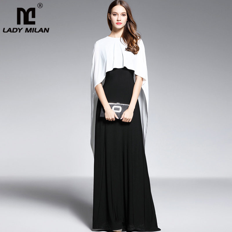 Lady Milan Womens O Neck Sleeveless Floor Length Long Party Dresses with Cape Color Block Fashion Prom Gown