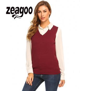 Zeagoo V-hals Vrouwen Mouwloze Solid Slim Fit Dunne Gebreide Trui Vest