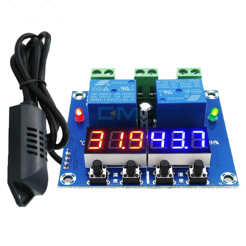 XH-M452 Multifunctional Practical High Precision DC 12V 10A Digital LED Dual Output Temperature and Humidity Controller Module