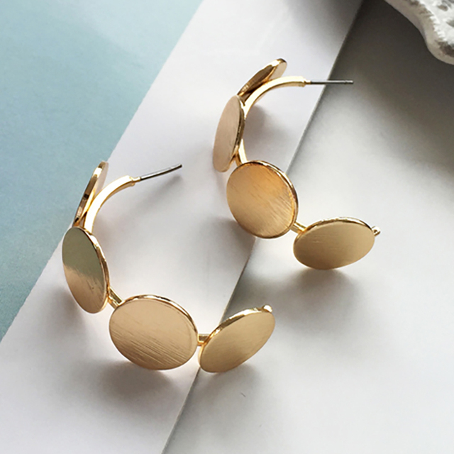 Simple Silver Gold Color Open C Hoop Earrings For Women Vintage Minimalist Geometric Round Circle Earrings Fashion Jewelry 2018