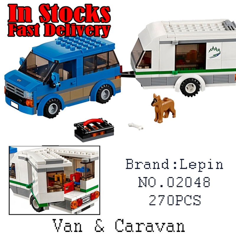 02048 270Pcs Lepin City Great Vehicles Van Caravan Camping Building Blocks Bricks DIY Toys for children gifts compatiblego 60117 lego city great vehicles буксировщик автомобилей 60081