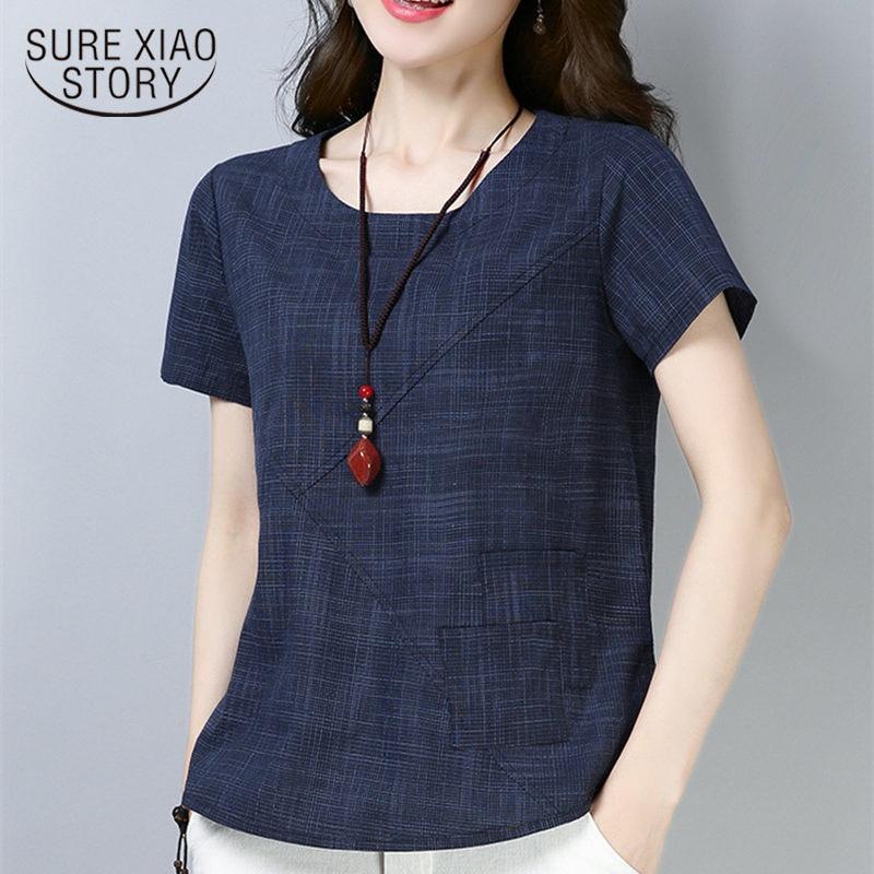 Women's summer blouses 2019 vintage Linen Cotton women tops blouses short sleeve women shirts Plus Size women clothing 2127 50