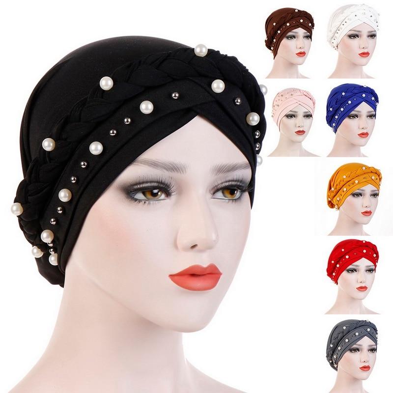 Vornehm Adisputent Frauen Kopf Schal Kopf Wrap Muslimischen Weiche Krebs Chemo Kappe Turban Hüte Perlen Braid Haar Verlust Perlen Islamischen Indien Kappe Bekleidung Zubehör
