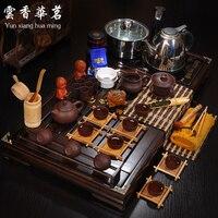 The Set Of Ceramic Tea Set Ice Purple Teacups Four In One Cooker Wood Tea Tray