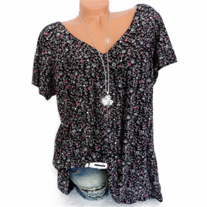 Осень 5XL большой размер женские летние с коротким рукавом с v-образным вырезом с цветочным принтом свободные блузки Повседневный Топ Модные Рубашки Блузки AS1054