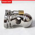 100% stainless steel male chastity device, love toys stainless steel male chastity lock belt Small cage free shipping