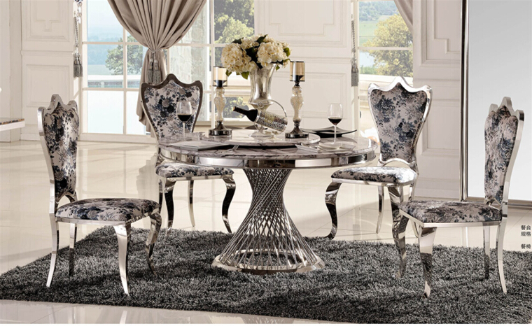 Marble Dining Table With Round Dining Table With 4 Chairs(China (Mainland))