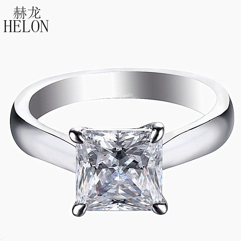 HELON Solid 14K White Gold Princess Cut DEF Color Moissanite 7x7mm 1.8ct carat Engagement Ring Lab Grown Diamond Moissanite Ring