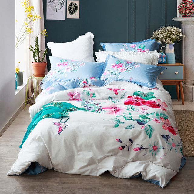 Floral Watercolor Designer Bedding Set Queen U0026 King Size Cotton Printed  Duvet Cover Bed Sheets Pillowcase