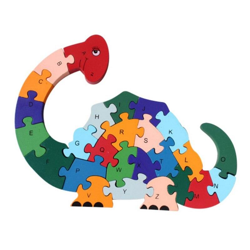 26 шт. 26 букв головоломки для детей буквенно-цифровой распознавания Животные Динозавр деревянные пазлы Дети Развивающие игрушки