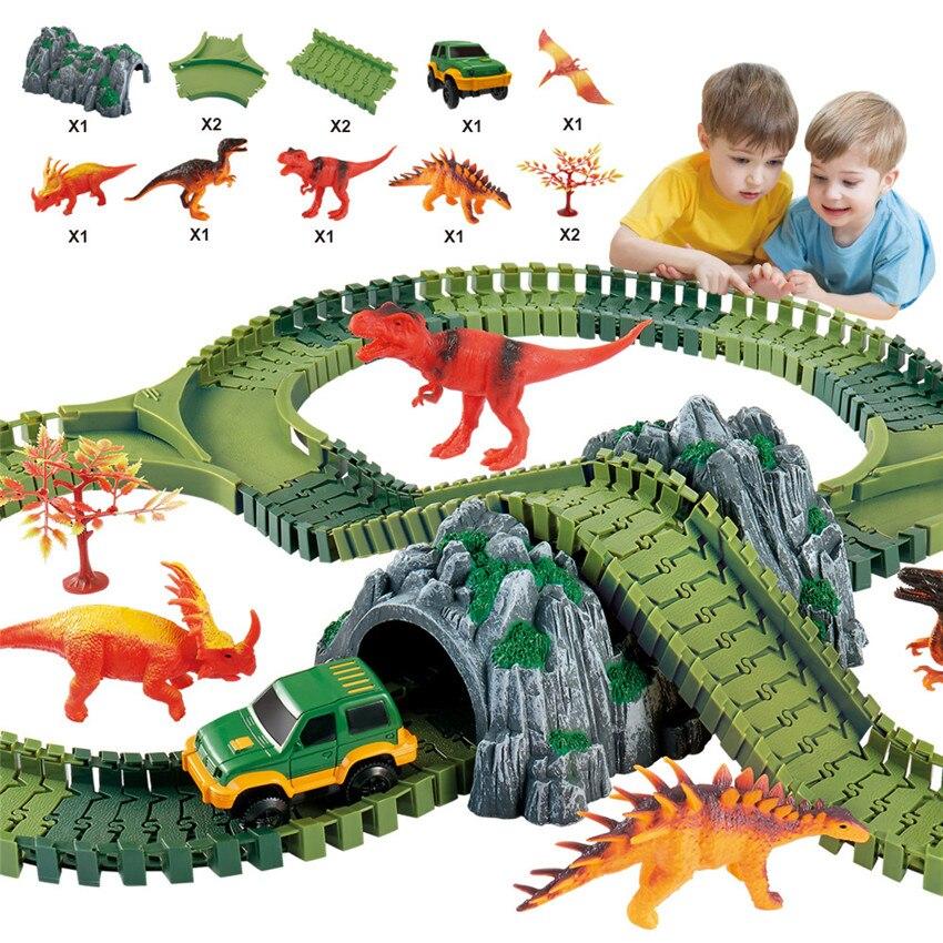 144 pièces magique dinosaure monde course piste ensemble bricolage Flex course piste drôle dinosaure jurassique parc créatif cadeau jouets pour enfants