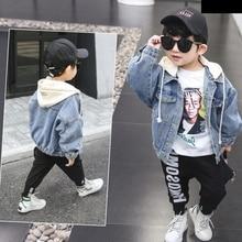 2019 New Spring  Autumn Models Boys Girls Fashion Denim Jacket Hooded Clothes