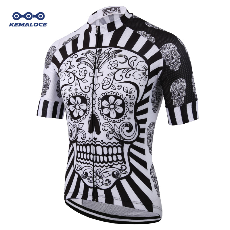 White Skull Sublimation Printing Cycling Jersey Best 2019 Pro Polyester Bike Wear Summer Men Quick Dry Cycling Top Bicycle Shirt(China)