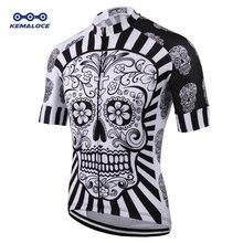 Biała czaszka druk sublimacyjny koszulka kolarska Best 2019 Pro poliester odzież rowerowa lato mężczyźni Quick Dry top rowerowy koszulka rowerowa