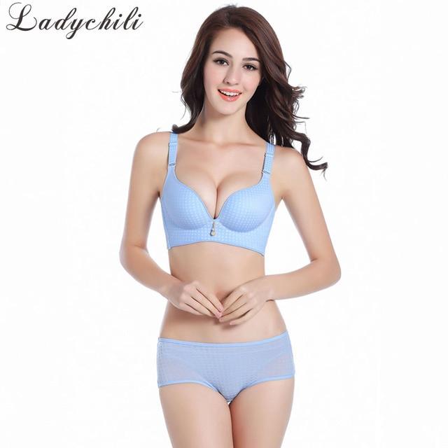 47b46e56ddf52 Ladychili Women Intimates Seamless One Piece Soft Wireless Bra and Panties  Set Plaid Wide Bra and Big Underwear Suit DD17
