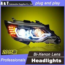 A&T car styling 2015 For TOYOTA Camry headlights LED DRL For TOYOTA Camry Q5 bi xenon lens h7 xenon LED light bar DRL HEAD LIGHT