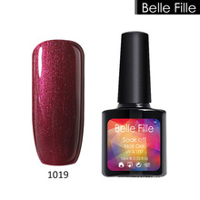 BELLE FILLE Nail Gel Polish Bling Wine Red Varnish UV GEL Soak Off Lacquer Need UV LED lamp Bling Glitter Coat Gel Nail Polish