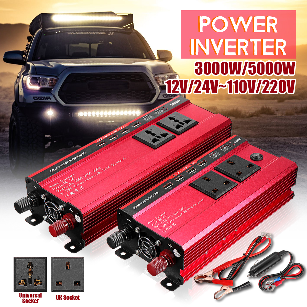 P500c 500w Car Power Inverter Dc12v To Ac220v Solar Inverter Modified Charger Es Solarenergie