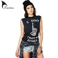 TASTIEN Brand T Shirt Women Summer 2016 Fashion Tees Women Skeleton Finger Printed Sleeveless Black Cotton