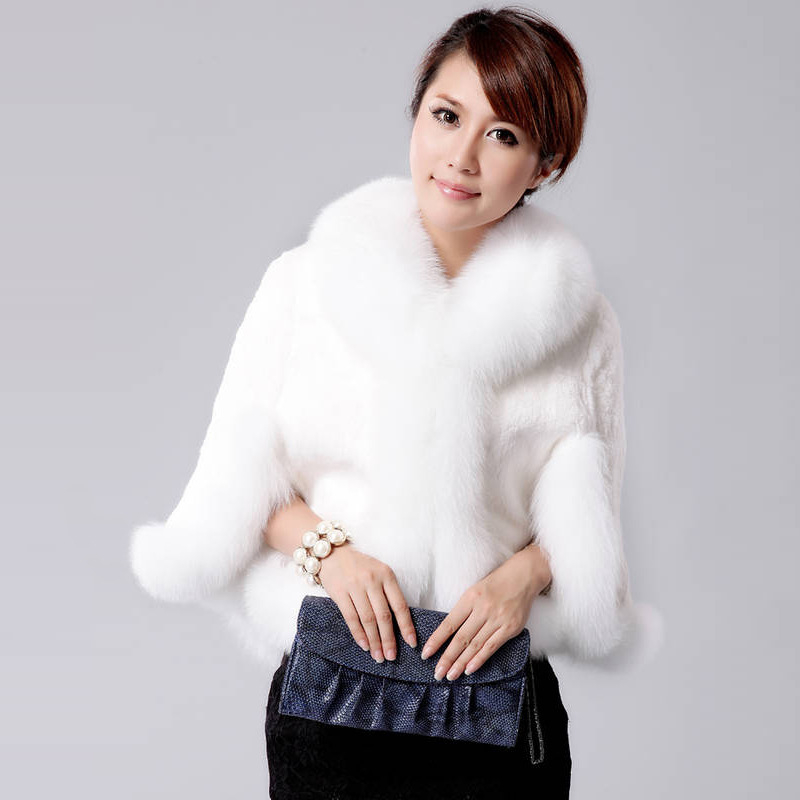 Hair Cape Jacket Fur Faux Fur Coat Mink 2018 Black White Fur Overcoat Imitation Rabbit Fur Faux Fox Collar XXXL FF040 free shipping the new imitation rabbit hair imitation fur shawl jacket bridal gown cape fur collar female overcoat scarf
