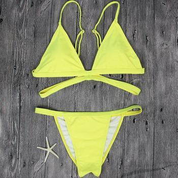 Yellow Solid Brazilian Thong Bikini 1