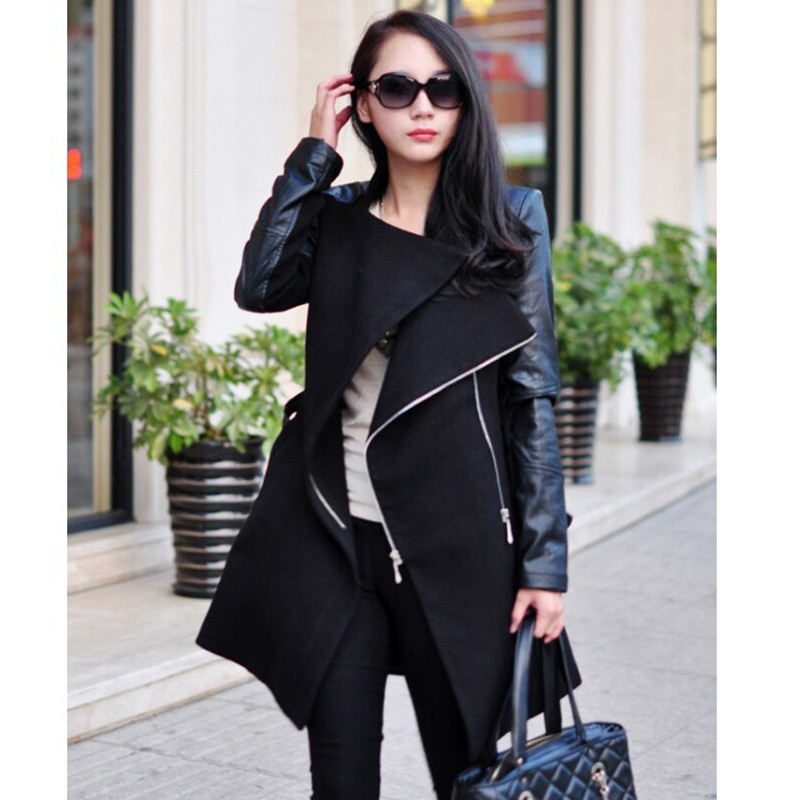 Trench Coat For Women 2018 New Fashion Patchwork Women Trench Long PU Leather Sleeve Windbreaker Autumn Winter Women Coat WC064