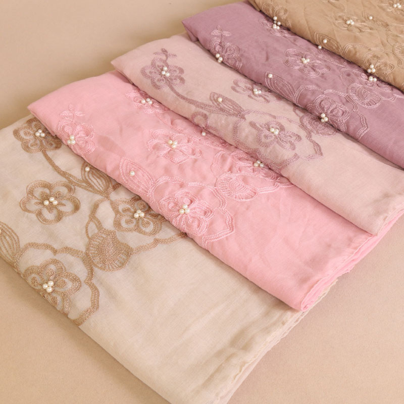 Color Embroidered Islam Muslim Cover Scarf Countryside System Nail Pearl Nation Wind Cotton Bonnet Hijab Turban Femme
