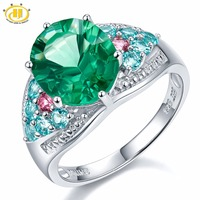 6 16Ct Genuine Green Fluorite Apatite Tourmaline Sterling Silver Cocktail Ring Women Jewellry