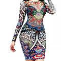 2016 Mulheres Sexy Tatuagem Tribal Imprimir Malha Bodycon Vestido Mulheres Manga Comprida Multi Color Retro Malha vestidos Clube